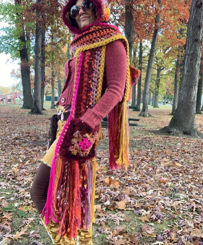 Pocket Shawl/scarf With Oversized Hood