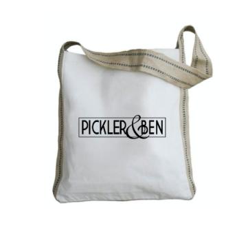 Pickler & Ben Burlap Handle Tote Bag