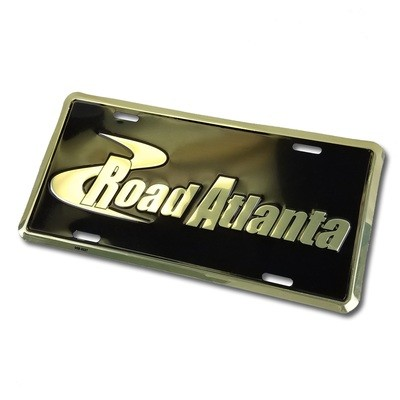 Road Atlanta Metal Car Tag- Black/Gold