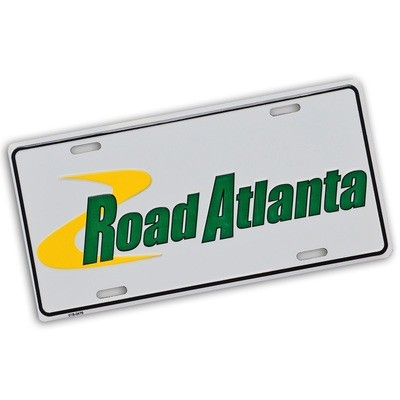 Road Atlanta White Metal Car Tag