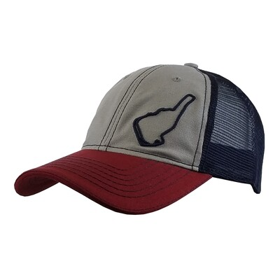 Michelin Raceway Road Atlanta Trucker Mesh Hat-Track Outline-Grey/Navy/Wine