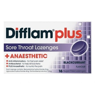 DIFFLAM AAA ANAESTHETIC LOZ BLKCURRANT 16