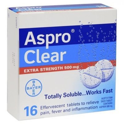 ASPRO CLEAR EXTRA STRENGTH 16 TABS