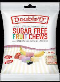 DOUBLE D SUGAR FREE FRUIT CHEWS 72G
