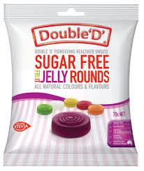 DOUBLE D SUGAR FREE JELLY ROUNDS 70G