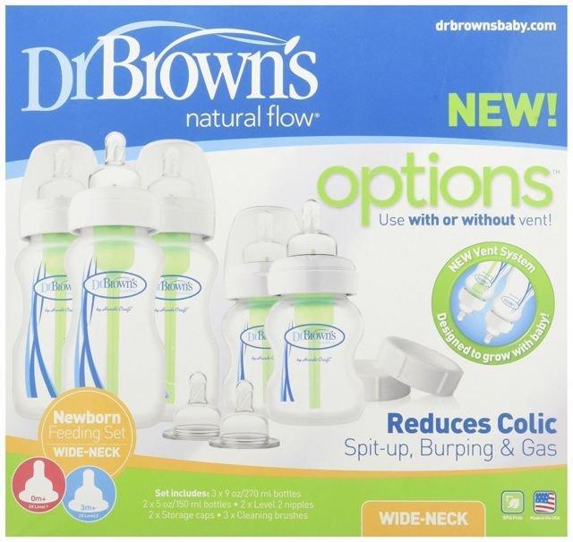 Dr Browns Options Wide Neck 9pc Newborn Feeding Set