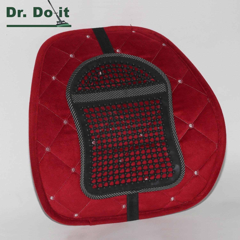 Dr. Do It Rückenstütze, Samt, rot, mit Massageauflage