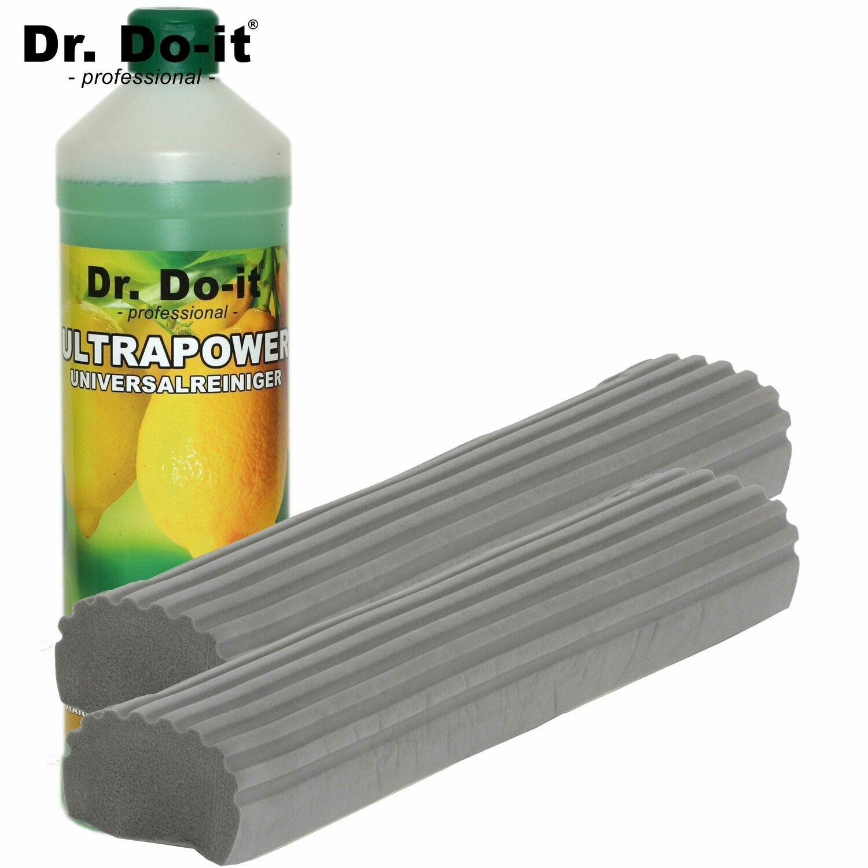Dr. Do It Professional Wischer - Ersatzschwamm (grau, 2er Pack) & 1 REINIGER