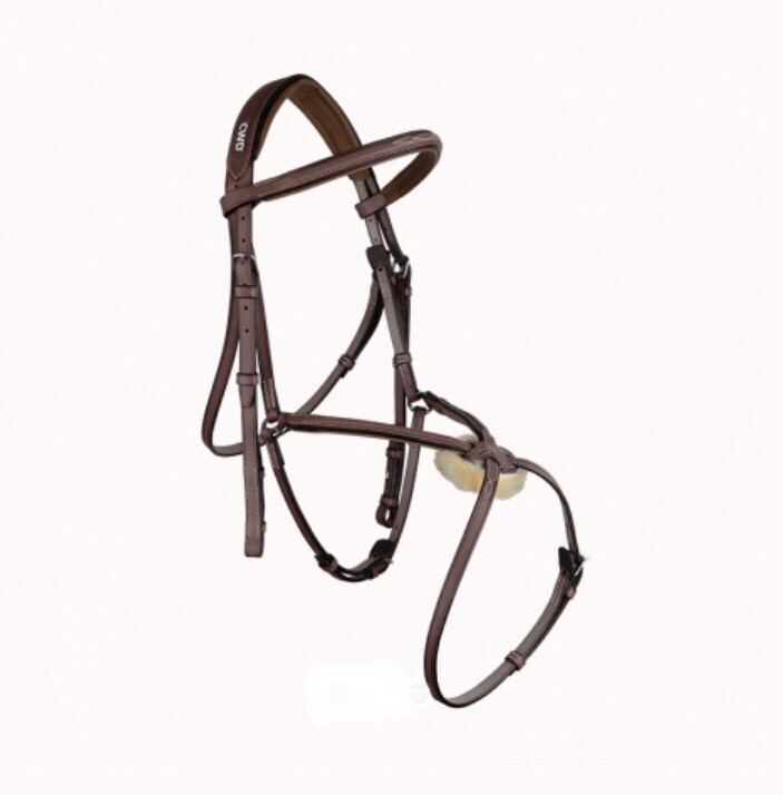Raised figure 8 noseband bridle with fancy stitching