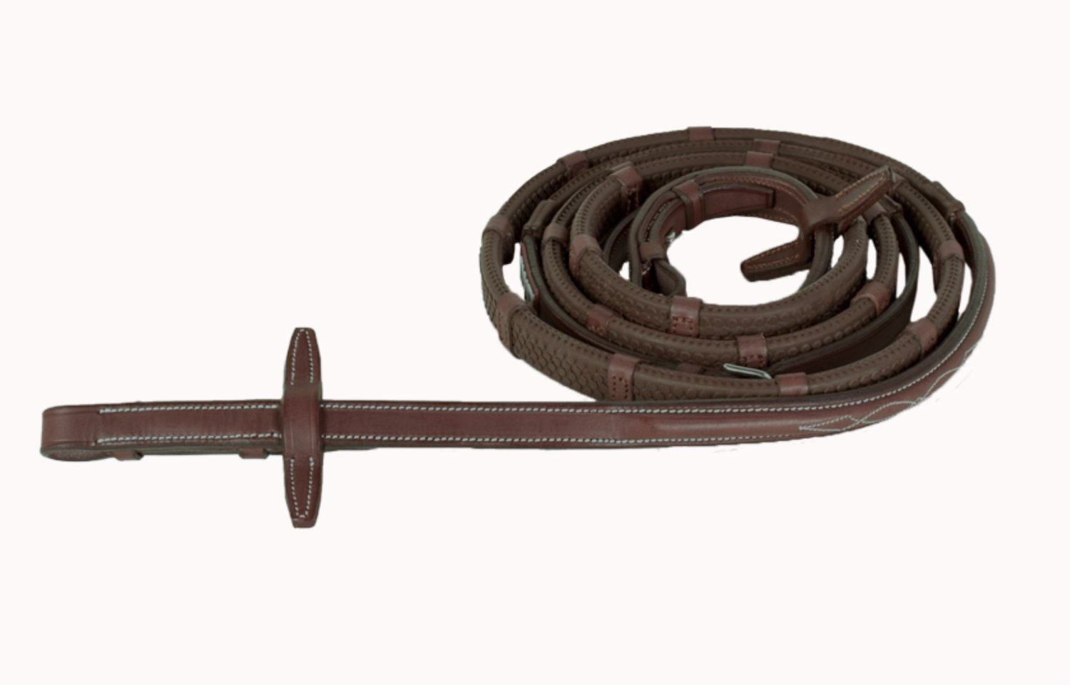 Raised Rubber Reins with Stoppers and Fancy Stitching