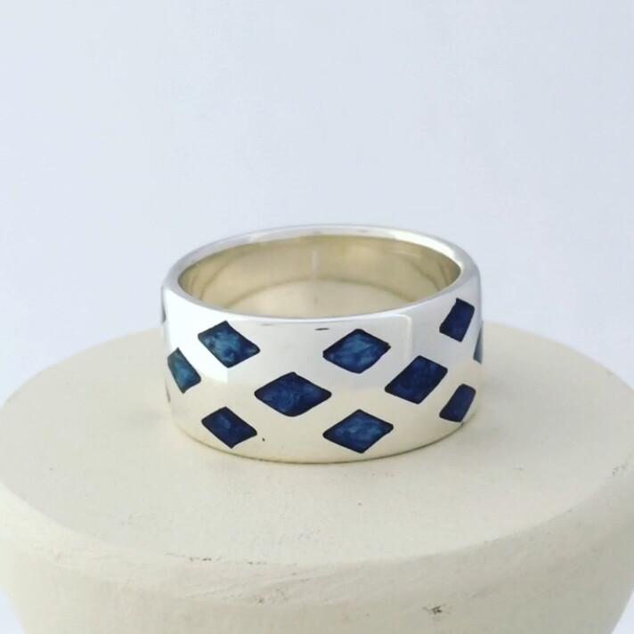 Deep Blue Diamonds Enamel Band