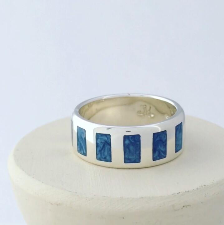 Mystic Blue Enamel Ring