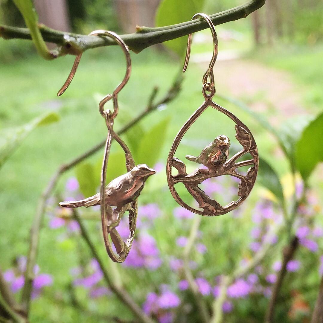 Garden Series Sweet Bird Earrings In 14k gold