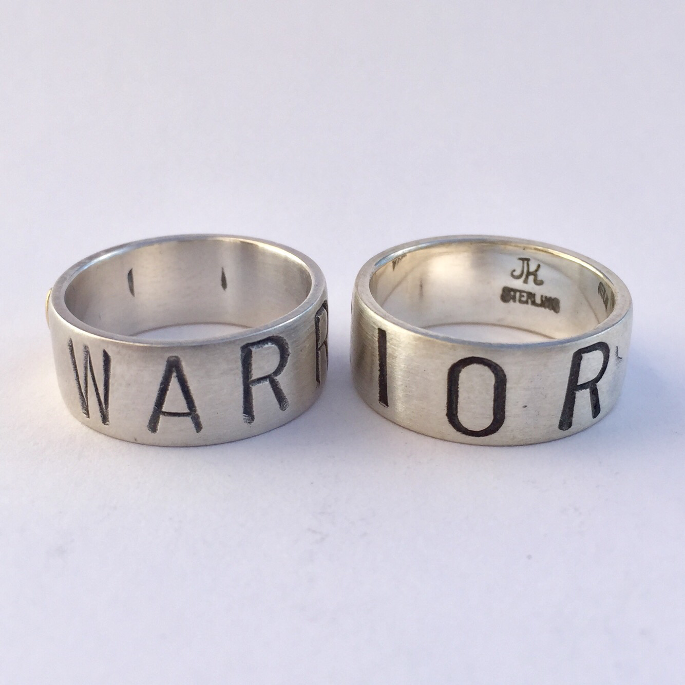 Warrior Ring Sterling Silver 8mm (wide) band with silver heart