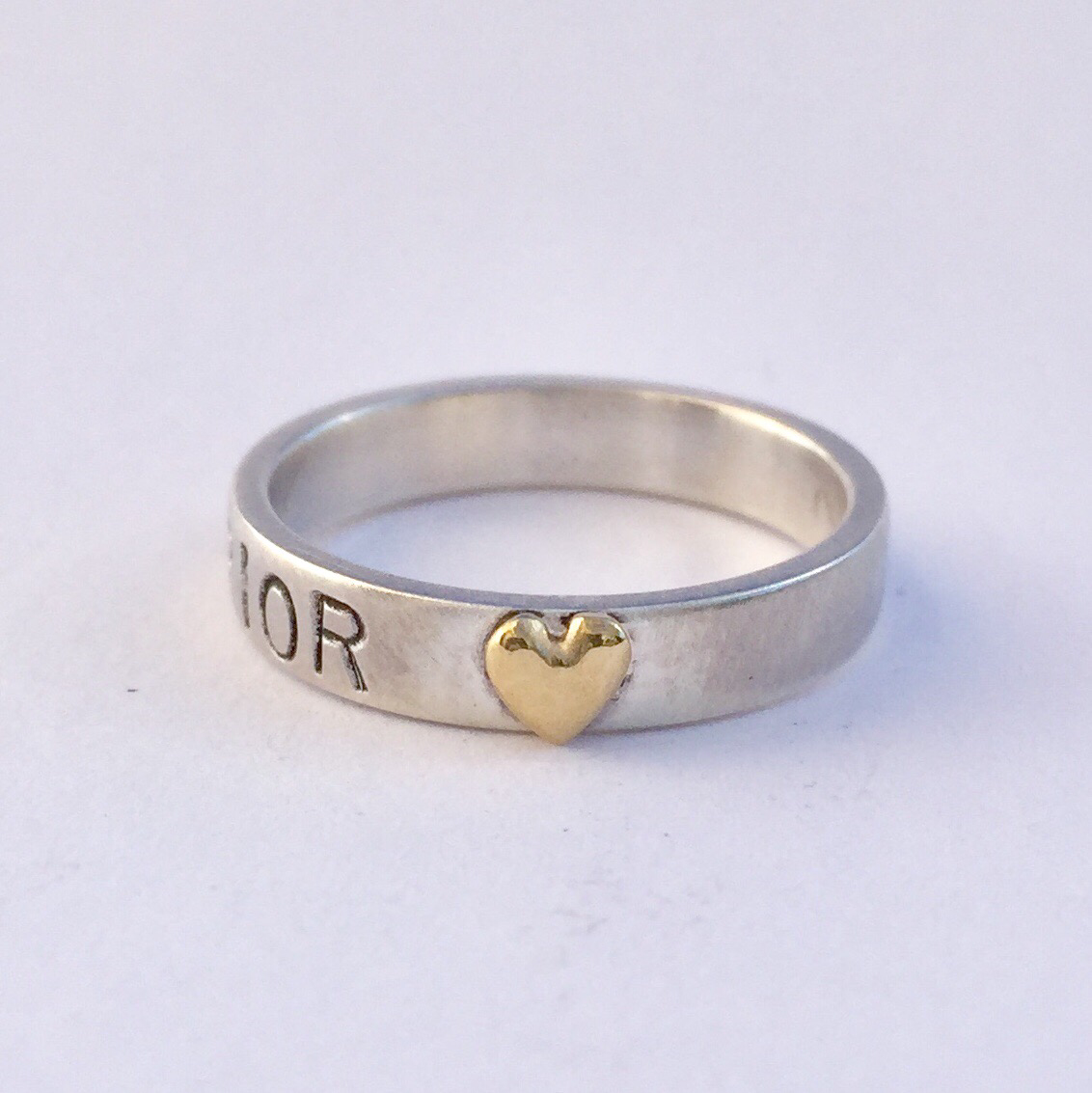 Warrior Ring Sterling Silver with 18k heart of gold  4mm (thin) band