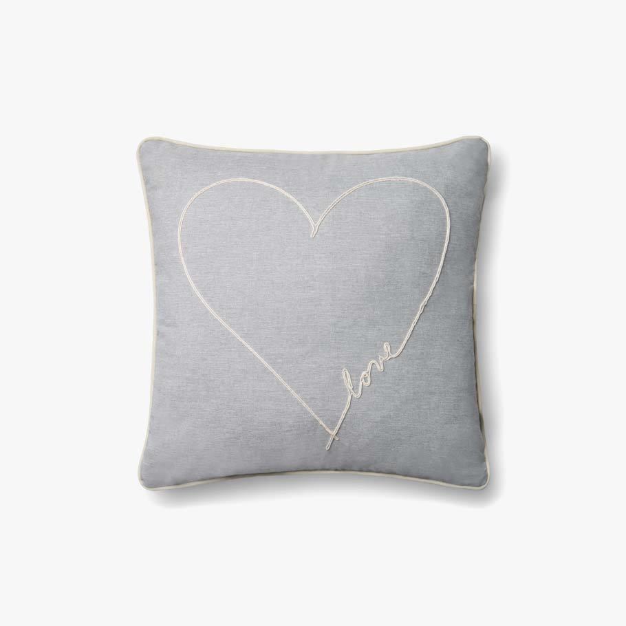P4070 ED Love Grey Indoor Outdoor Pillow