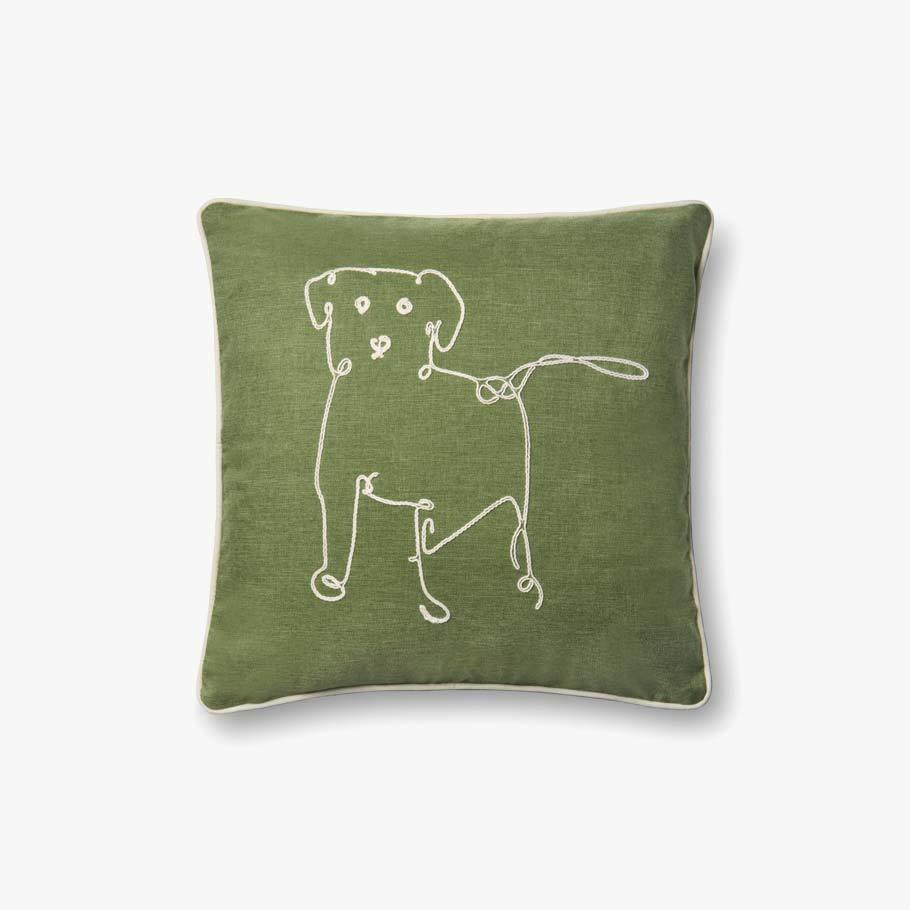 P4071 ED Green Dog Indoor Outdoor Pillow