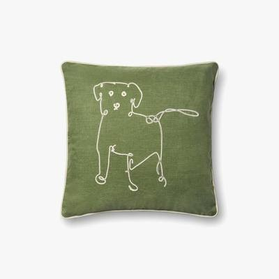 P4071 ED Green Dog Indoor Outdoor Pillow