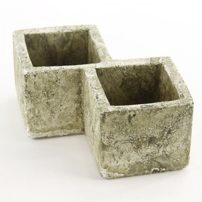 Double Square Concrete Planter