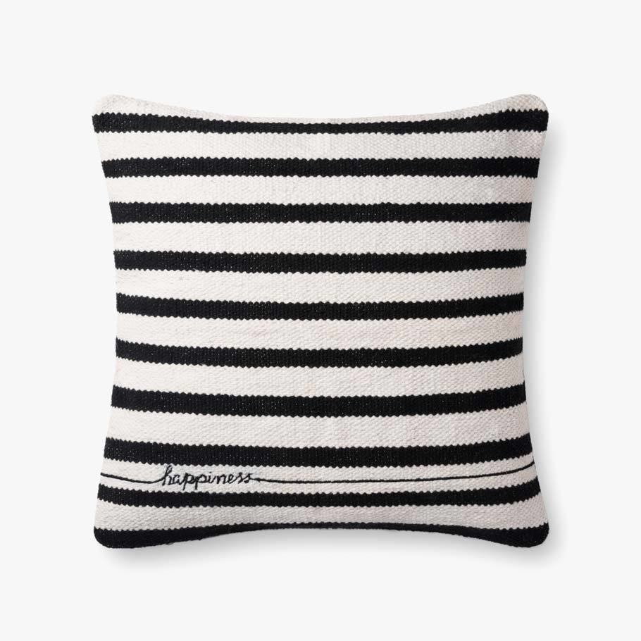 Happiness Black / White Pillow