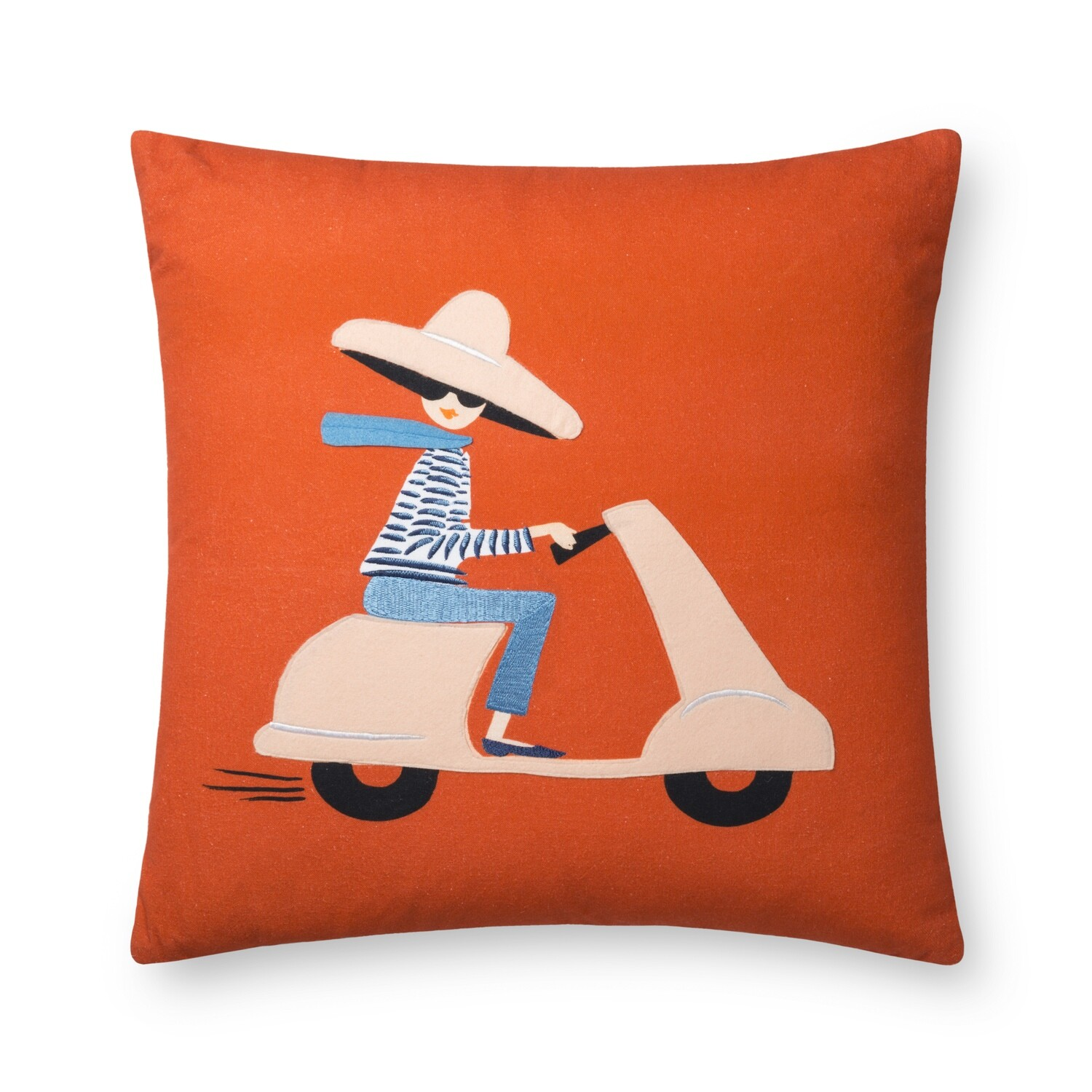 P6003 Rifle Paper Red/Multi Scooter Fun Pillow