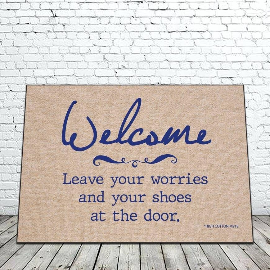 Welcome Leave Your Worries Door Mat