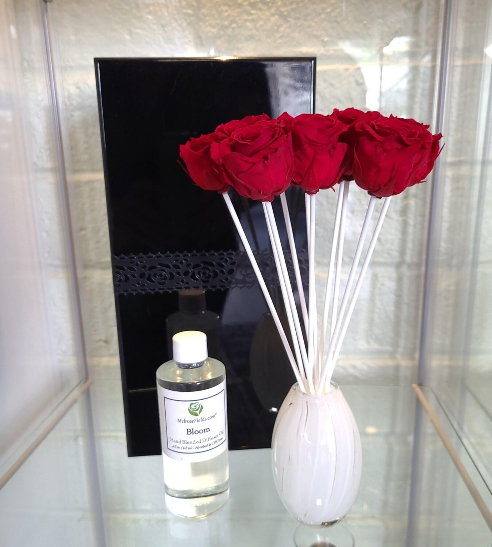 MelroseFields Art Glass Red Rose Reed Diffuser Kit