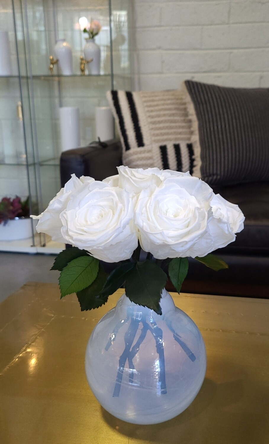 White Preserved Rose Centerpiece by MelroseFields Atom Style