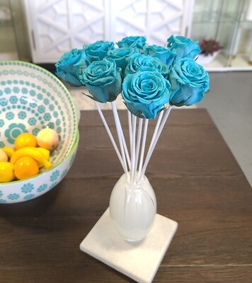 MelroseFields Art Glass Blue Rose Reed Diffuser Custom