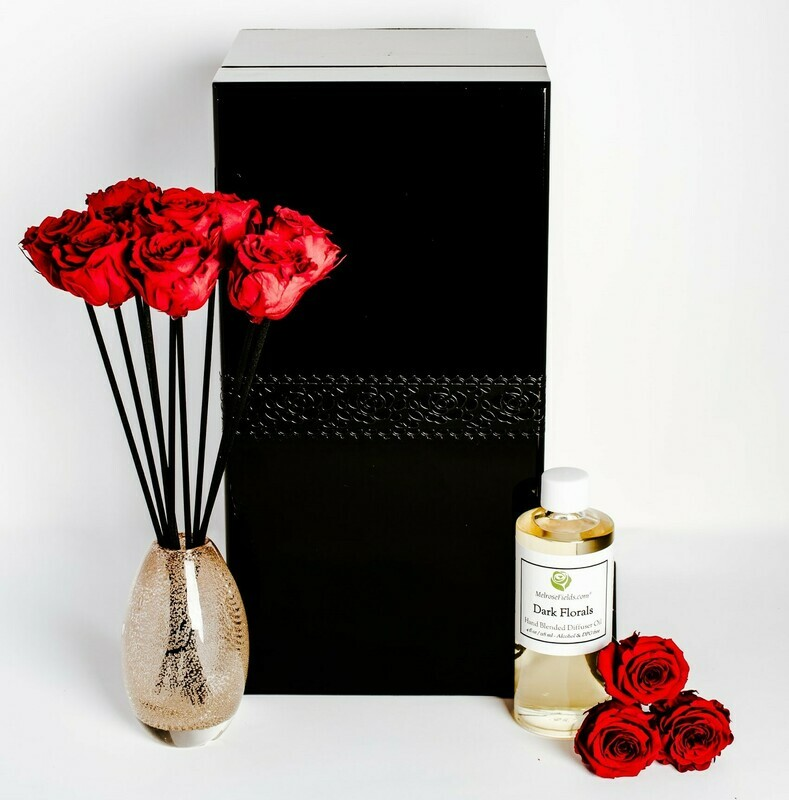 MelroseFields Art Glass Red Rose Reed Diffuser Kit