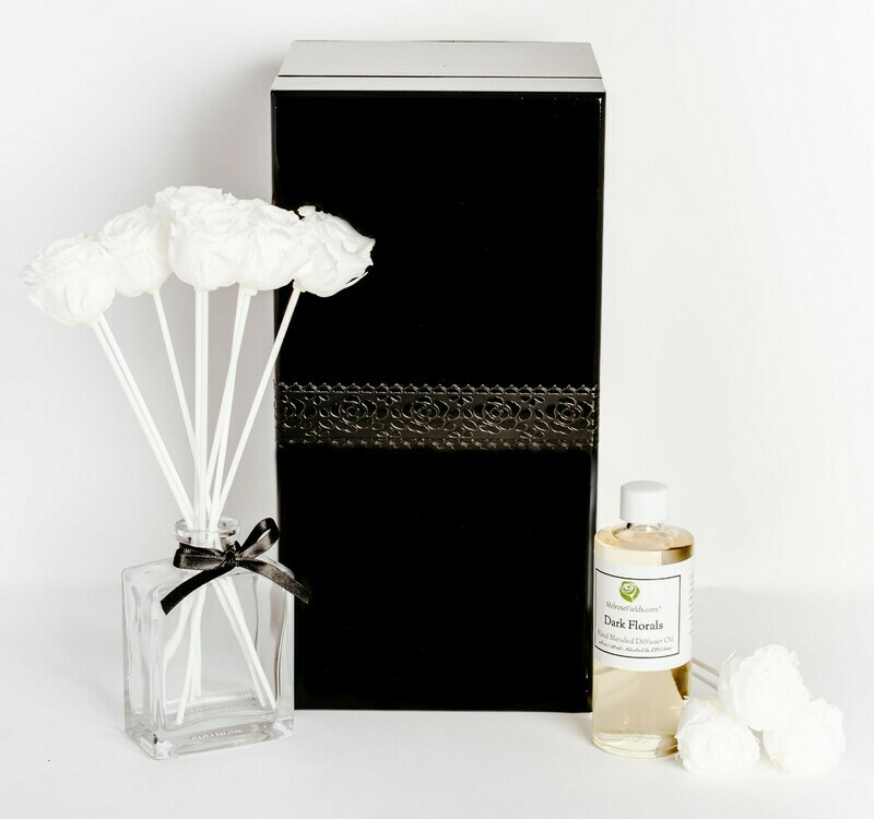 MelroseFields Classic White Rose Reed Diffuser Kit