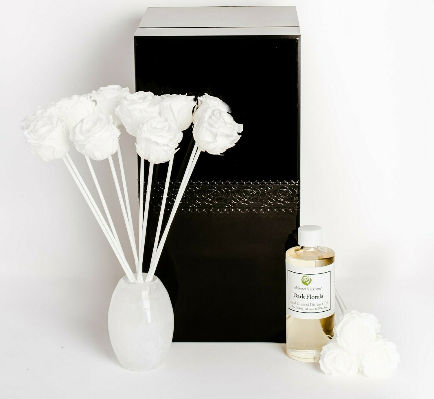 MelroseFields Art Glass White  Rose Reed Diffuser Kit