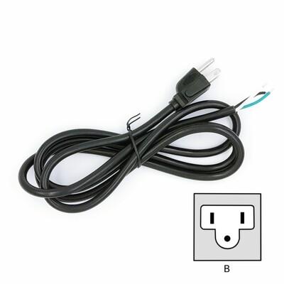 Power Cord, AC Power Plug, Type B, USA, NEMA 5-15 grounded