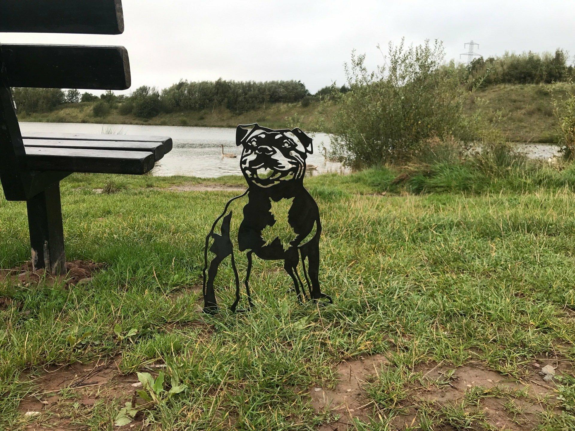 Staffordshire Bull Terrier Staffy Metal Dog Garden Art