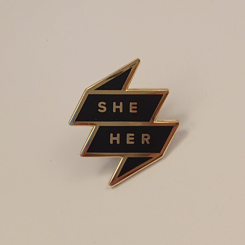 Pronoun Badge - She/Her Black