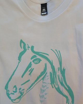 Show Ponies T-shirt - White and Teal - Small