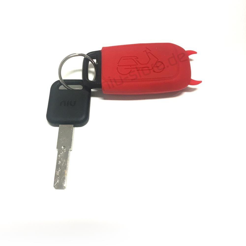 2 NIU Schlüsselcover aus Silikon rot & schwarz