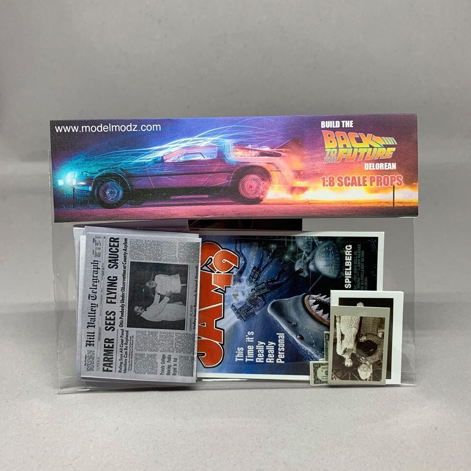 Delorean 1:8 scale miniature Paper Props (ADD-ON)