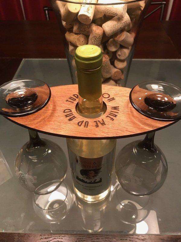 Wooden 2-Wine Glass Holder