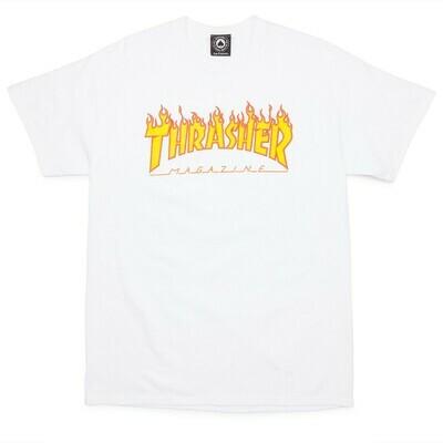 Thrasher Flame SS White Tee