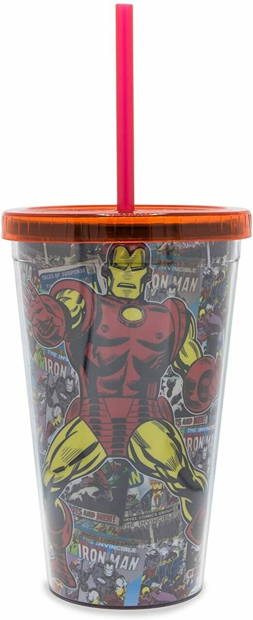 Iron Man Comic Cover Cup With Straw