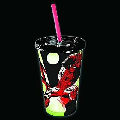 Spiderman Glow In The Dark Cup With Straw