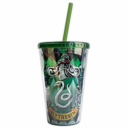 Slytherin Crest Cup With Straw