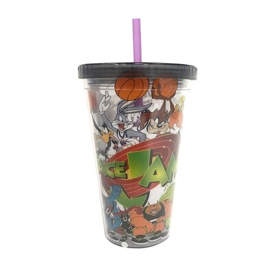 Space Jam Cup With Straw And Ice Cubes