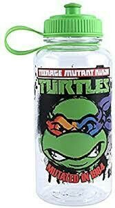 TMNT Angry Face Pull Top Plastic Water Bottle