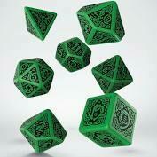 Celtic Dice Set 3D Green/Black Revised
