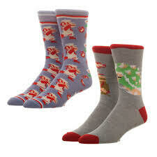 Super Mario Bros Crew Socks 2 Pack