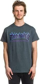 Thrasher Blue Flame Grey SS Tee