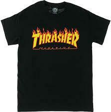 Thrasher Flame Black SS Tee