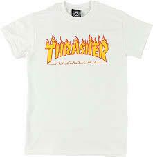 Thrasher Flame SS White